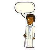 Cartoon unhappy gentleman with speech bubble Stock Images