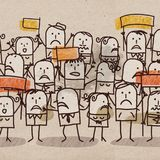 Cartoon Unhappy Group of People Royalty Free Stock Photo