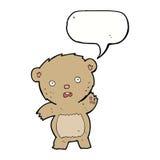 Cartoon unhappy teddy bear with speech bubble Stock Images