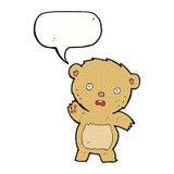 Cartoon unhappy teddy bear with speech bubble Stock Image