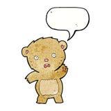 Cartoon unhappy teddy bear with speech bubble Royalty Free Stock Image
