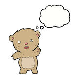 Cartoon unhappy teddy bear with thought bubble Royalty Free Stock Images