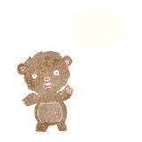 Cartoon unhappy teddy bear with thought bubble Royalty Free Stock Photo