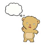 Cartoon unhappy teddy bear with thought bubble Stock Image
