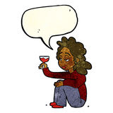 Cartoon unhappy woman with glass of wine with speech bubble Royalty Free Stock Image