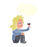 Cartoon unhappy woman with glass of wine with speech bubble Royalty Free Stock Photo