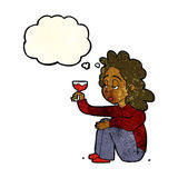 Cartoon unhappy woman with glass of wine with thought bubble Royalty Free Stock Photos
