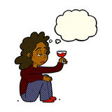 Cartoon unhappy woman with glass of wine with thought bubble Stock Images