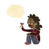 Cartoon unhappy woman with glass of wine with thought bubble Stock Photos