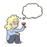 Cartoon unhappy woman with glass of wine with thought bubble Royalty Free Stock Images
