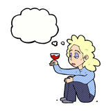 Cartoon unhappy woman with glass of wine with thought bubble Stock Image