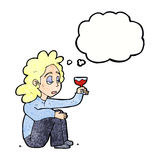 Cartoon unhappy woman with glass of wine with thought bubble Royalty Free Stock Image