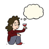 Cartoon unhappy woman with glass of wine with thought bubble Royalty Free Stock Photo
