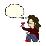 Cartoon unhappy woman with glass of wine with thought bubble Stock Photography
