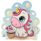 Cartoon Unicorn on a Blue background. Cute Cartoon Unicorn with cupcake on a Blue background stock illustration