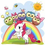 Cartoon Unicorn and Five Cute Owls Stock Photography