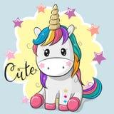 Cartoon Unicorn Isolated On A Gray Background Stock Photos