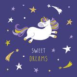 Cartoon unicorn on the night sky with glitter. Unicorn on the night sky with stars and comets. Cute cartoon character for pajamas, sleepwear, t-shirts design royalty free illustration