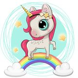 Cartoon Unicorn is on the rainbow. Cartoon Cartoon Unicorn is on the rainbow vector illustration