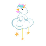 Cartoon unicorn sitting on the cloud stock illustration