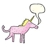 Cartoon unicorn with speech bubble Royalty Free Stock Image