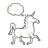 Cartoon unicorn with thought bubble Royalty Free Stock Images