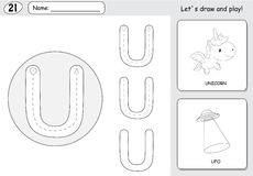 Cartoon unicorn and ufo. Alphabet tracing worksheet: writing A-Z and educational game for kids. Cartoon unicorn and ufo. Alphabet tracing worksheet: writing A-Z stock illustration