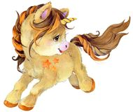 Cute cartoon unicorn watercolor illustration Royalty Free Stock Photo