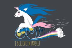Cartoon unicorn on a wheelchair stock images