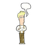 Cartoon unimpressed man with speech bubble Royalty Free Stock Image