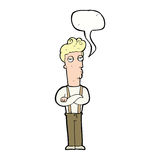 Cartoon unimpressed man with speech bubble Stock Images