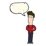 Cartoon unimpressed man with speech bubble Stock Photos