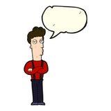 Cartoon unimpressed man with speech bubble Stock Image