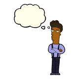 Cartoon unimpressed man with thought bubble Royalty Free Stock Image