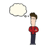 Cartoon unimpressed man with thought bubble Stock Image