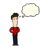 Cartoon unimpressed man with thought bubble Royalty Free Stock Photography