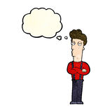 Cartoon unimpressed man with thought bubble Royalty Free Stock Images