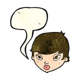 Cartoon unimpressed woman with speech bubble Royalty Free Stock Photography