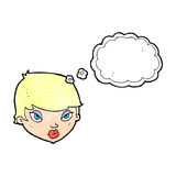 Cartoon unimpressed woman with thought bubble Royalty Free Stock Photography