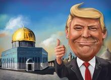 Cartoon of United States recognition of Jerusalem as Israeli cap. December 17, Jerusalem themed cartoon of Donald Trump - Illustration of the American President Stock Images