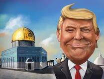 Cartoon of United States recognition of Jerusalem as Israeli cap. December 17, Jerusalem themed cartoon of Donald Trump - Illustration of the American President Royalty Free Stock Photos