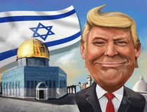 Cartoon of United States recognition of Jerusalem as Israeli cap Royalty Free Stock Photo