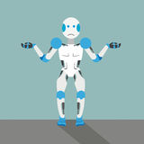 Cartoon Unknowing Robot. Unknowing robot cartoon with gears on the gray background Royalty Free Stock Photo