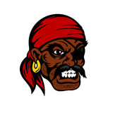 Cartoon unshaven angry pirate with eye patch. Growling cartoon african american pirate face with eye patch, red bandana and gold earring, for nautical or marine Stock Photo