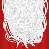 Cartoon unusual Santa`s white beard on the red background. Stock Photo