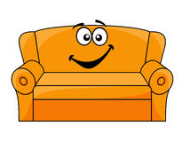 Cartoon upholstered couch. Cartoon upholstered orange couch, sofa or settee with a happy smile, vector illustration isolated on white Stock Photos