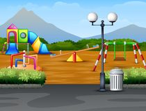 Free Cartoon Urban Park Kids Playground In The Nature Background Royalty Free Stock Photography - 138697667