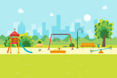 Cartoon Urban Park Kids Playground. Vector. Cartoon Urban Park Kids Playground for Game and Activity, Flat Design Style. Vector illustration royalty free illustration