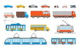 Cartoon Urban Transport Icons Set. Vector. Cartoon Urban Transport Icons Set Ambulance, Police Car and Bus Elements Public Transportation Concept Flat Design Stock Photo