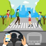 Cartoon Using Smartphone Driving Car Card Poster. Vector Royalty Free Stock Photo